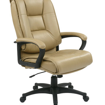 Office Star Executive High Back Tan Glove Soft Leather Chair with Padded Loop Arms [EX5162-G11]