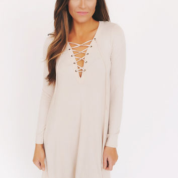 Oatmeal Lace Up Tunic