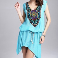 Women's Sleeveless Embroidery Splicing loose Dress With Belt