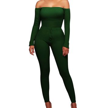 Chloe Off Shoulder Knit Bodycon Jumpsuit - Green
