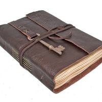 Brown Leather Journal with Tea Stained Pages and Skeleton Key Bookmark