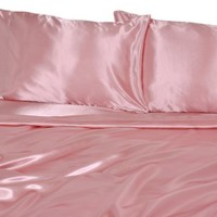 Elite Home Products Collection Silky Luxurious Woven Satin 4-Piece Sheet, King, Pink