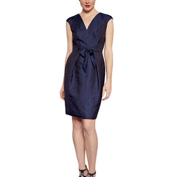 Carmen Marc Valvo Pleated Cap Sleeve Dress