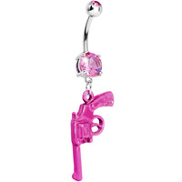 Pink Gem Revolver Dangle Belly Ring | Body Candy Body Jewelry