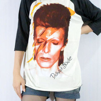 DAVID BOWIE Ziggy Stardust Glam Punk Rock Music Shirt Men Shirt Women Shirt Unisex Shirt 3/4 Long Sleeve Jersey Raglan Baseball Shirt Size M