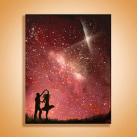 Dancing couple Space Art - Painting- Love - Starry Sky - Custom Paintings - Paintings on Canvas - Wall Art - Spray Paint Art - Fine Art