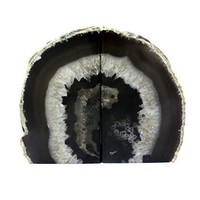 Crystal Allies Gallery: Pair of Polished Agate Geode Halves Bookends w/ Authentic Crystal Allies Stone Card - 1lb to 3lbs (Black)