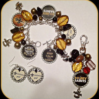 New Orleans Saints Unique Custom NFL Charm Bracelet,Earrings,Purse Charm Set Sports Fan Shop NFL Teams Jewelry mlb.nhl,nba,nsl,ncaa,nascar
