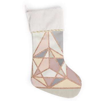 "Draper ""Rose Gold Geometry"" Gold Pastel Digital Christmas Stocking"