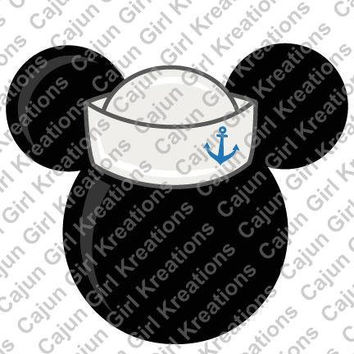 Mickey Mouse Sailor Cruise Hat SVG Design Cutting Files for Craft Cutters Like Silhouette Included Files jpg, svg, png, psd, eps, and psp