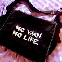 No Yaoi No Life Messenger Bag - fujoshi fangirl fanboy school bag purse tote crossbody