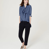 Chambray Bow Softened Shirt | LOFT