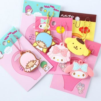 1pc lovely Bunny Keychain My Melody Little Twin Stars Kt Anime Key Met Keys Cover Gudetama Cartoon Chain Bag figure toys gift