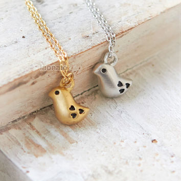 Heart and Sparrow Necklace / choose your color / gold and silver