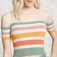 Fashion Multicolor Stripe Off Shoulder Short Sleeve Women's Knit T-shirt Tops
