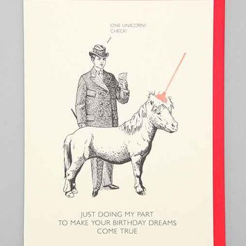 Black & White & Red All Over Unicorn Birthday Card- Assorted One
