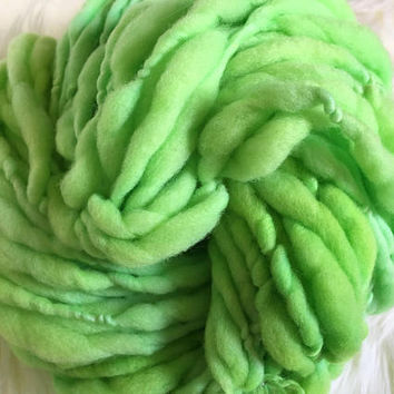 Merino Wool, Handspun Thick and Thin Super Bulky Yarn, 4 oz, Lime