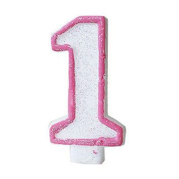 Pink Glitter 1 Number Candle White Premium 1st Birthday Cake Candle Anniversary