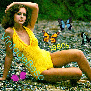 INSTANT DOWNlOAD - PdF Pattern - Bathing Suit Crochet Pattern Sexy 1970s Swimsuit Maillot Vintage One Piece Swimwear VintageBeso