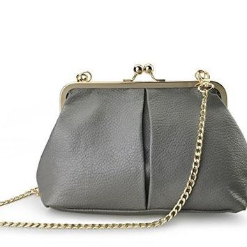 Hoxis Classical Kiss Lock Framed Clutch with Chain Starp Womens Shoulder Bag Purse Wallet