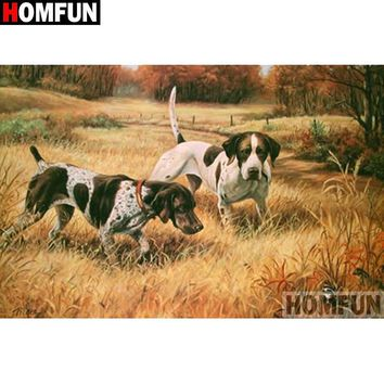 5D Diamond Painting Hunting Dogs in the Grass Kit