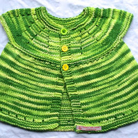 Handknit Baby Cardigan - Baby Girl Clothes - Green Knit Baby Sweater - Knit Cardigan - Knitted Baby Clothes - Handknit Green Sweater