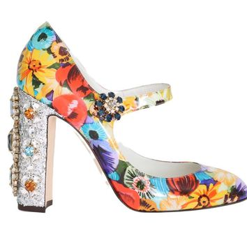 Floral Pattern Crystal Heels Leather Shoes