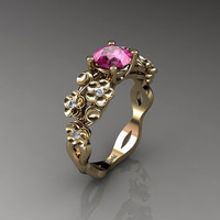 Nature Inspired 14K Yellow Gold 1.0 Ct Pink Sapphire Diamond Floral Engagement Ring R1022-14KYGDPS