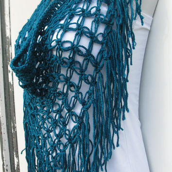 FALL SALE CROCHET Scarf, Crochet Sarong/scarf Teal ,  triangle beachcover up, festival, gypsy clothing, boho chic, hippie