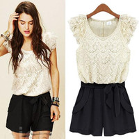 Buy Fashionable Lace Embellished Bowknot Jumpsuit Black&White with cheapest price|wholesale-dress.net