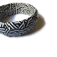 Aztec Tribal Paper Bangle - Handmade, Statement, Geometric