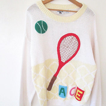 Vintage 80s/90s TENNIS Cherokee ACE Embroidered Chunky Knit Novelty Kitschy Sweater One Size Fits Most, Size L