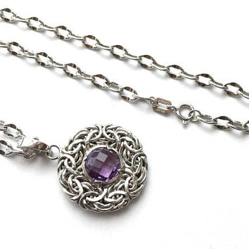 "Romantic Smaller 14K White Gold 16""  Necklace,  Faceted Round Amethyst Stone in Byzantine Pendant, Bridal, Anniversary, February Birthday"
