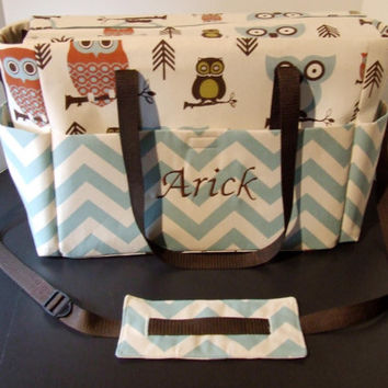 Tote/Diaper bag in Owl print with blue chevron trim, with removable, adjustable cross body strap. (Monogramming additional charge)