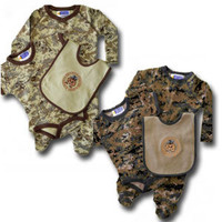 3-Piece Baby Marine Gift Set with Crawler, Onesuit and DI Bulldog Bib in Desert or Woodland Camo, Marine Corps Baby Sleeper Layette Set
