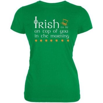 DCCKU3R St. Patrick's Day Irish Top Of The Morning Funny Pun Juniors Soft T Shirt