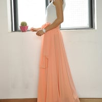 Beautiful Bow Tie Chiffon Maxi Skirt Silk Skirts Pink Elastic Waist Summer Skirt Floor Length Long Skirt(037)