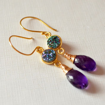 NEW Peacock Druzy Earrings, Real Amethyst Gemstones, Teal and Purple, Jewel Tones, Gold Vermeil Jewelry, Dangle Earrings, Free Shipping