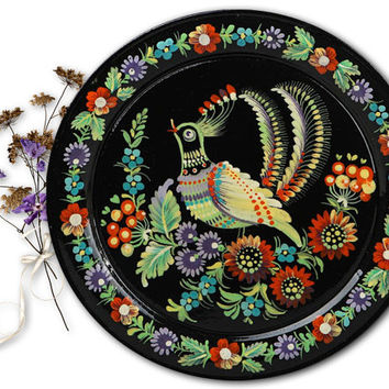 "Decorative wooden plate ""Birds"", ukrainian style, wooden plate, decorative plate, handmade plate"