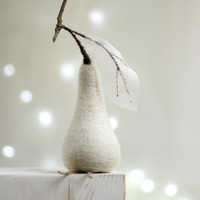 Needle Felted  Pear  - Christmas Decoration - Cottage Decoration White Pear - Home Decoration - Needle Felt Fruits - Fall Decoration