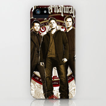 Supernatural Sam, Dean Winchester Castiel, Bobby and Crowley Poster  iPhone & iPod Case by House of H