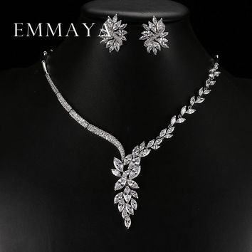 Emmaya New Unique Design Choker Necklace Stud Earrings Bridal Jewelry Sets Wedding Accessories