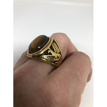 Vintage Gothic Gold Finished Stainless Steel Genuine Tigers Eye Dragon mens Ring