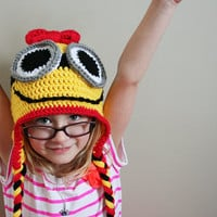 Girl Yellow Minion Hat, Girl Minion hat, costume hat, Halloween costume, 5t to preteen sizes available