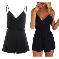 SIMPLE - Sexy Black Casual Loose V Neck Tank Top Romper a12241