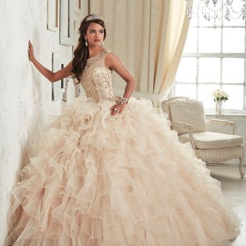 Quinceanera Collection - 26835 Beaded Illusion Bateau Ruffle Ballgown