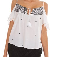 Joyousness Cold-Shoulder Top - White