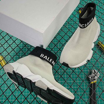 Balenciaga Speed Trainers With Tricolor Sole Gray - Best Online Sale
