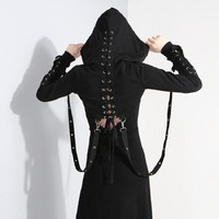 Short Hoodie Womens Bandage Metal Hooded Pullover Gothic