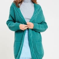 late at night open front cable knit cardigan sweater - midnight green